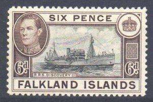 Falkland Is Scott 89 - SG155a, 1938 George VI 6d Brown MH*