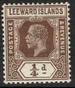 LEEWARD ISLANDS SG81var 1931-2 ¼d BROWN REVERSION TO DIE I DAMAGED R MTD MINT