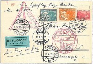 GLIDING Volo a Vela - 1st FLIGHT Card - AUSTRIA: Graz / Maribor 1933 - NICE!!