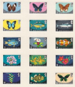 SOLOMON ISLANDS, 1972 Flora & Fauna set of 15, lhm.