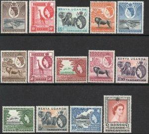 K.U.T.-1954-59 Set to £1 Sg 167-180 hinge remainders AVERAGE MOUNTED MINT V46368