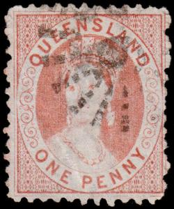 Queensland Scott 45a (1876) Used G-F, CV $20.00 M