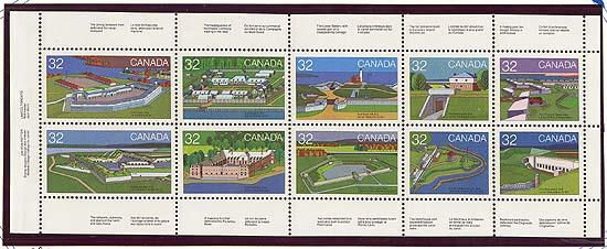 Canada USC #992a Mint VF-NH Cat. $11. 1983 32c Forts Pane of Ten.