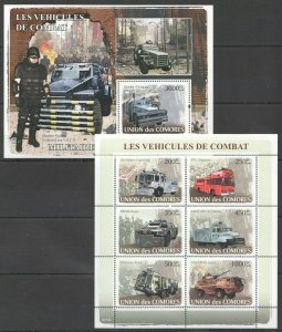 UC112 2008 COMOROS SPECIAL TRANSPORT FIGHTING VEHICLES AUTOMOBILES BL+KB MNH