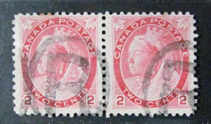 Canada #77 Pair with a nice reentry.Used.