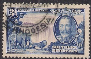Southern Rhodesia 1935 KGV 3d Silver Jubilee used SG 33 ( H1360 )