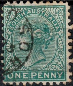 SOUTH AUSTRALIA - 1876 - SG167 1d blue-green p.10 - Very Fine Used