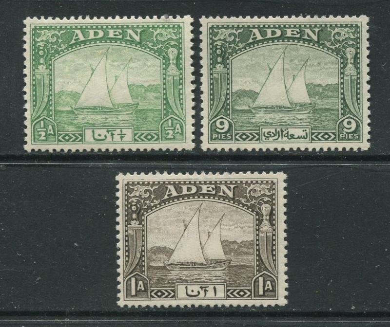 ADEN - Scott 1-3 - Dhow Issue - 1937- MLH - 3 Single Stamp