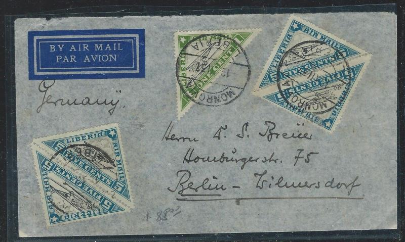 LIBERIA (P2912B) 1937 TRIANGLE STAMPS, 6 A/M COVER TO GERMANY