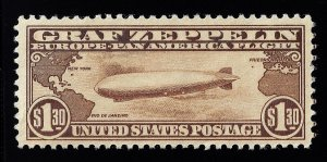 WCstamps: U.S. Scott #C14 / $650 - $1.30 Graf Zeppelin, VF, Mint OGnh