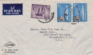 Singapore 10c QEII Timber Tongkong and 50c QEII Liner (2) 1961 Singapore, E A...