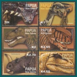 Papua New Guinea 2004 Dinosaurs, MNH  #1105-1110,SG1009-SG1014