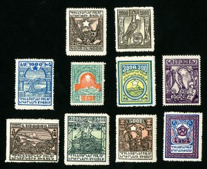 Armenia Stamps # 300-9 VF OG Hinged