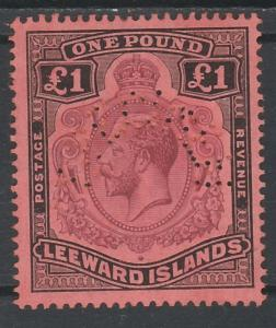 LEEWARD ISLANDS 1921 KGV SPECIMEN 1 POUND TOP VALUE