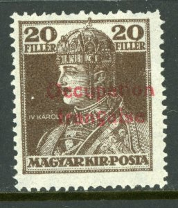 Hungary 1919 French Occupation 20f Dark Brown Sc # 1N23 Mint M968 ⭐⭐⭐⭐⭐⭐