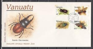 Vanuatu, Scott cat. 457-460. Insects and Butterflies on a First day cover. ^
