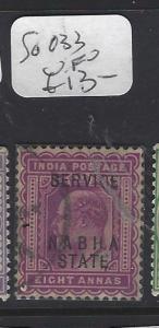 INDIA  NABHA  (P2410B)   KE  SERICE   8A  SG O33   VFU