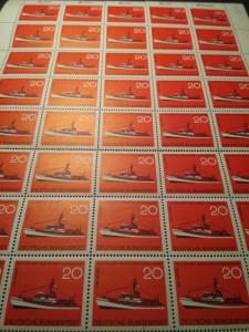 1965 Allied Occ West German 20 Pfennig Red Cross ship Boat stamp sheet MNHOG
