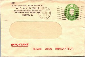 WD & HO Wills Imperial Tobacco Co Bristol UK stationery window envelope 1955