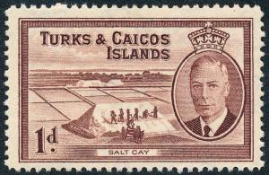Turks & Caicos Islands 1950 1d Red-Brown SG222 MVLH