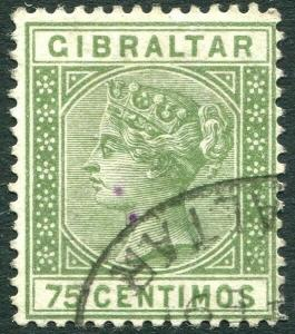 GIBRALTAR-1890 75c Olive-Green Sg 29 Sg 29 GOOD USED V28886