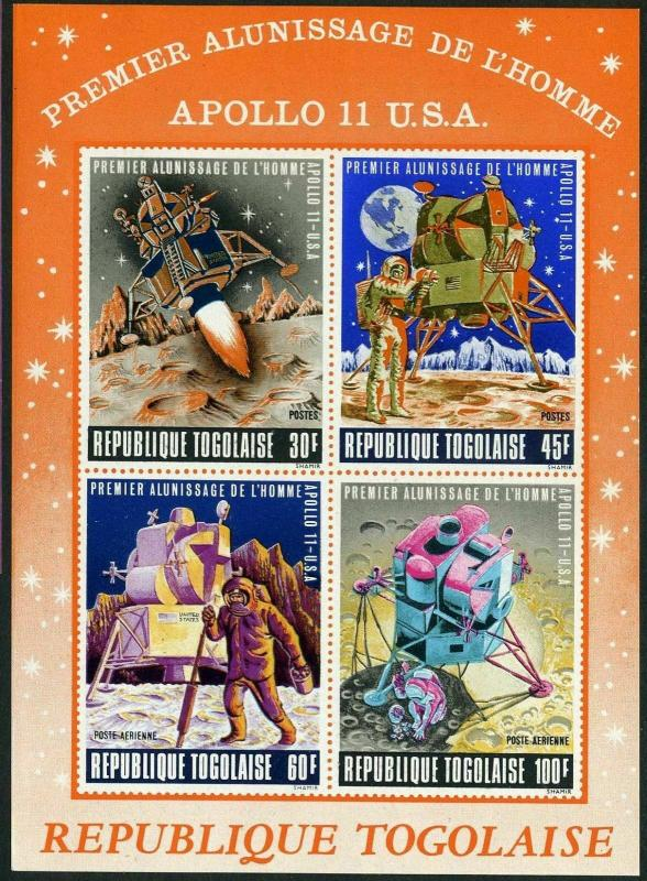 Togo C108a,C108aa,MNH.Michel 709-712 Bl.40-41 Apollo 11.Astronaut,Moon surface.