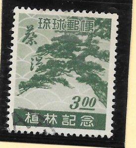 RYUKYU Scott #15 Used 3 Yen Pine Tree 2018 CV $22.50