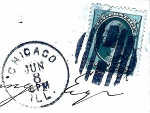 US Banknote Stamp on Piece w/Fancy GRID Cancel & Validating 'CHICAGO, ILL.' CDS