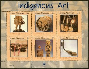 UNITED NATIONS Sc# NY 897 GE 452 VI 375  2006 Indigenous Art Souv Sheets MNH