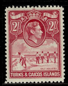 TURKS & CAICOS ISLANDS GVI SG203, 2s deep rose-carmine, M MINT. Cat £48.