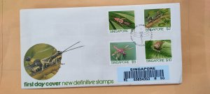 1985 SINGAPORE U/A REGISTERED FDC ON HIGH VALUE INSECT SERIES