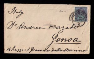 GB UK Postal History Cover Sg201 2½d London to Genoa Italy Cancel (1892)