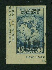 US 1934 3c dark blue Byrd Souvenir Sheet Single, Scott 735a used, Value = $1.25