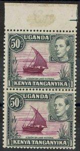 KENYA UGANDA & TANGANYIKA 1938 KGVI DHOW 50C TYPE I - II PAIR MNH **