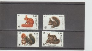 Slovenia  Scott#  714-717  MNH  (2007  Red Squirrel)