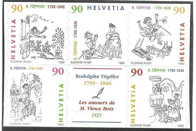 1999   SWITZERLAND  -  SG.  1409 / 1413  -  CARTOONIST -  SELF ADHESIVE  -  MNH