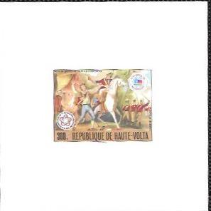 Upper Volta US Bi-Centennial proof card #C243 Airmail  Soldiers. Horse