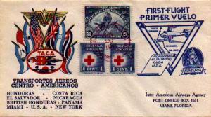 Honduras 1c Red Cross (2) and 21c Izote Flower 1943 TACO First Flight Tegucig...