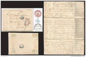 J) 1852 SPAIN, LANESTOSA DATED RED CIRCULAR CANC., VERACRUZ DATED CIRCULAR MARK