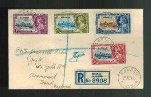 1937 Nassau Bahamas cover to England Full Set Jubilee