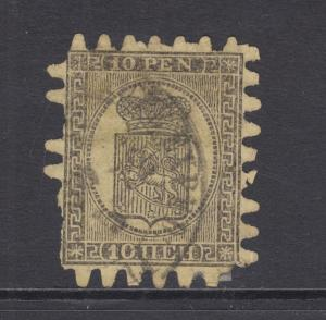 Finland Sc 8 used 1870 10p black on yellow Coat of Arms, Scarce