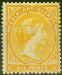 Falkland Is 1896 6d Yellow SG34 Fine Very Lightly Mtd Mint
