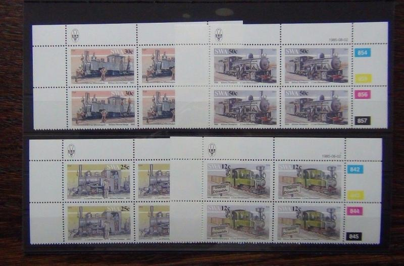 South West Africa 1985 Narrow Gauge Railway Locomotives set in blocks x 4 MNH