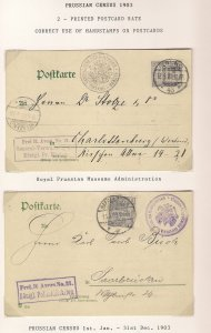 Deutschland Prussian Census 1903 Two Cards Polizeidirektion Saarbrucken Museen