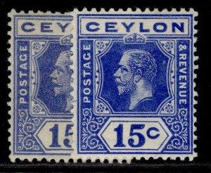 CEYLON GV SG311 + 311a, 15c SHADE VARIETIES, M MINT.
