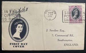 1953 Singapore Negri Sembilan first day cover Queen Elizabeth II Coronation QE