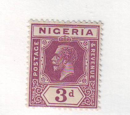 Nigeria Sc 25 1921 3d deep violet G V stamp mint
