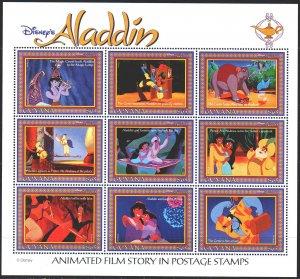 Guyana. 1993. Small sheet 4491-99. Aladdin, Disney cartoons. MNH.