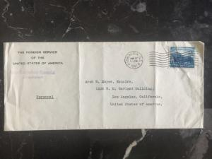 1941 US Consul In Dresden Germany Personal Diplomatic Cover to Los Angeles USA