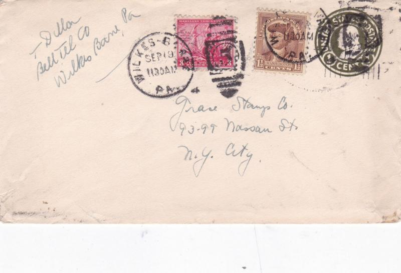 United States Wilkes Barre to New York Cover VGC